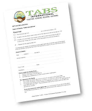 TABS International Gift Aid form