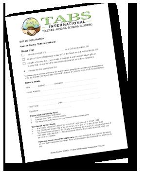 TABS International Gift Aid form