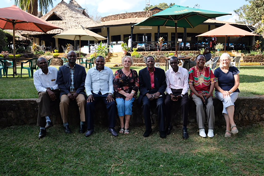 Kenya : September 2018 : The TABS Kenyan trustees with friends, and Kath and Rachel from TABS International after a productive meeting